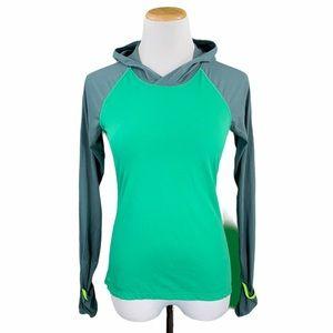 Nike Running Dri-Fit Green & Gray Hooded Tee